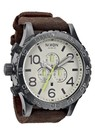 Nixon The 51 - 30 Chrono Leather - Gunmetal / Brown
